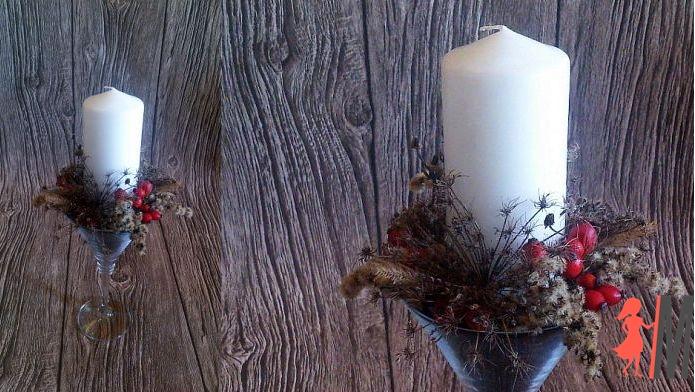 Dekoracje jesienne – świeca