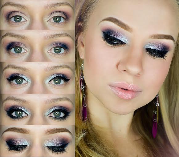 Makijaż sylwestrowy z brokatem, krok po kroku