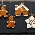 Christmas homemade gingerbread cookies over slate