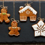 Christmas homemade gingerbread cookies over slate